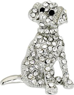 Modern Gems Pave Crystal Dog Pin Brooch