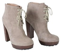 Modern Vintage Suede Lace Up Platform Stacked Heel Nwd Taupe Boots