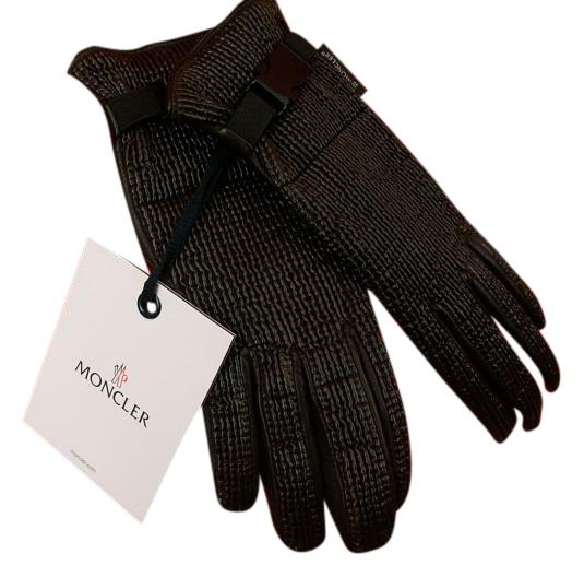 Moncler LEATHER WOVEN BUCKLE CHOCOLATE WINTER GLOVES M $365 ITALY ...
