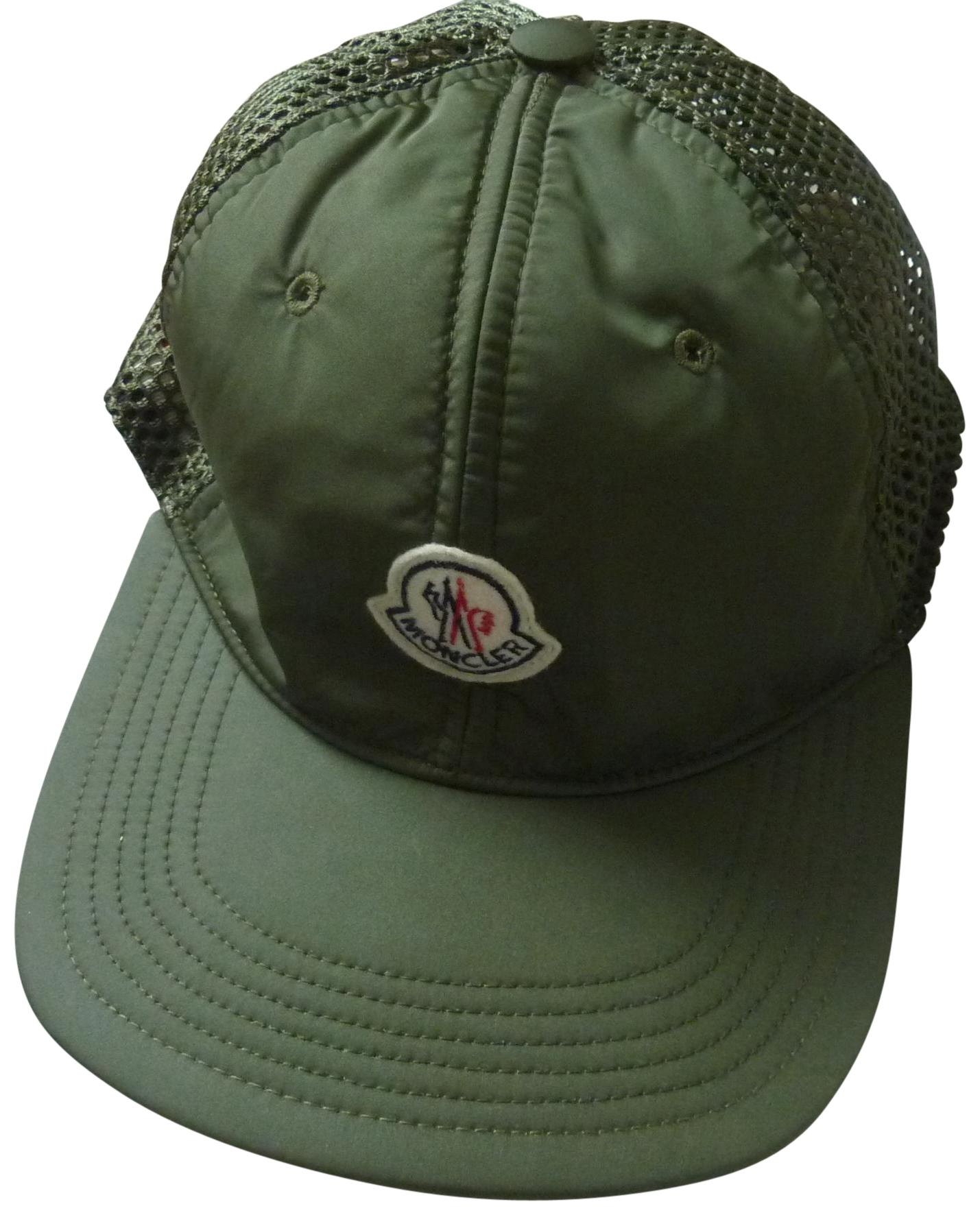 bd6900a2474 ... wholesale moncler 225 moncler logo mesh back nylon trucker hat in olive  green df7d6 0e26c