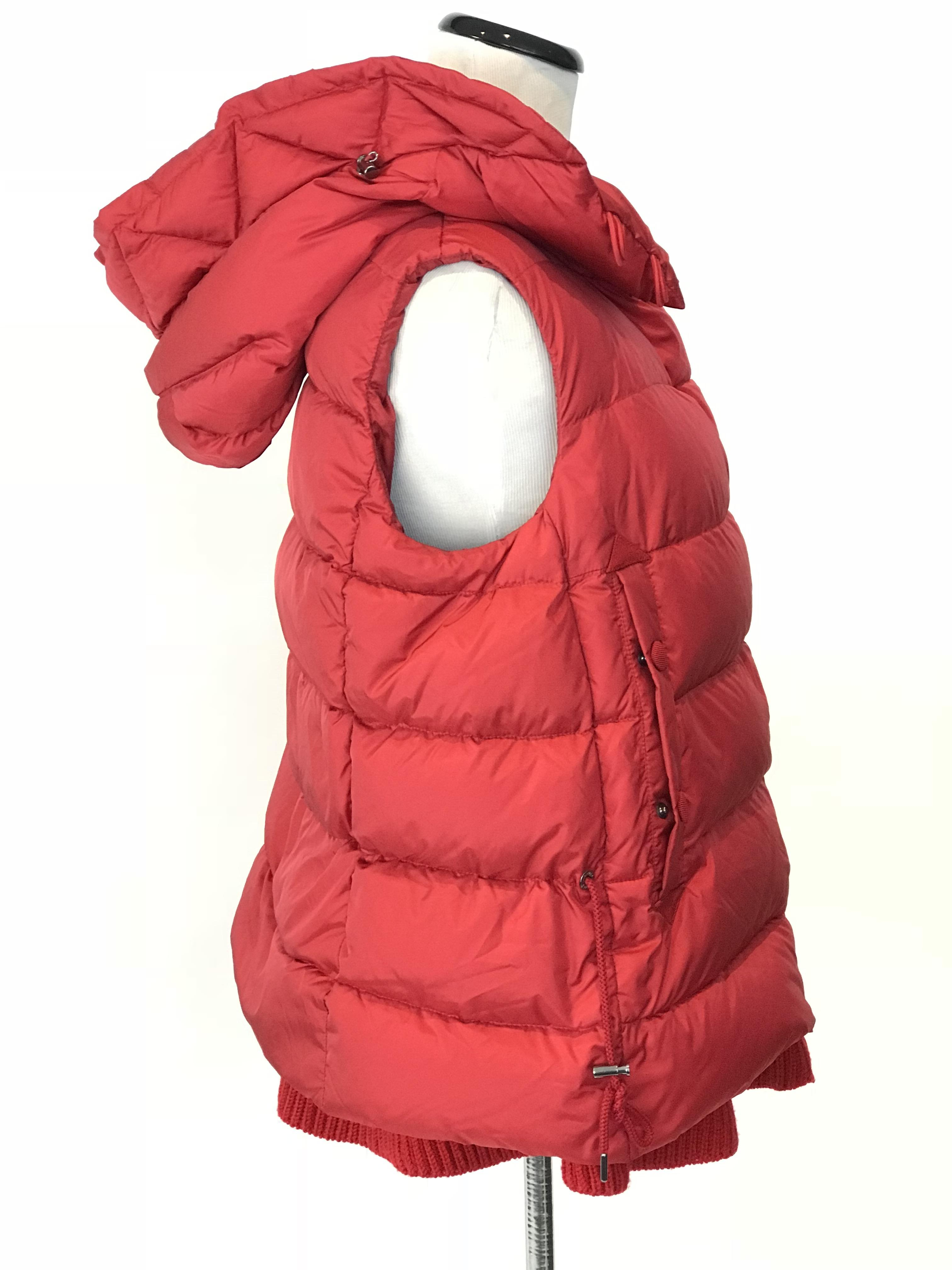 bf391b5ad29 ... shop moncler red laurie hooded a line down vest size 4 s tradesy 6958d  7c6a8