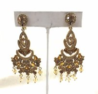 MONET Vintage Monet Signed Crystal Gold Tone Chandelier Earrings Clip On