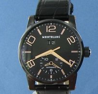 Montblanc Montblanc Timewalker 106066 Black Pvd Rose Big Date Gator Strap Watch