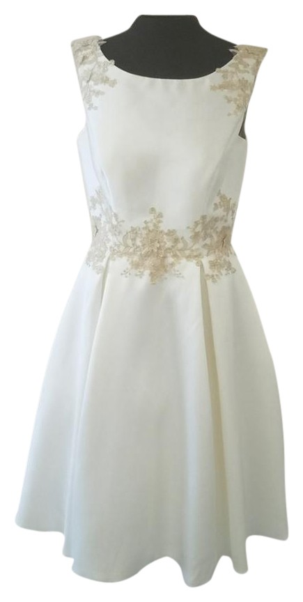 Moonlight Bridal Ivory/Gold Micado Tea Length Vintage Wedding Dress Size 12  (L) ...
