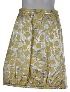 Moschino Cheap Amp Chic Womens Yellow Silver Metallic Skirt Multi-Color