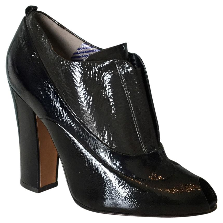 sale for nice Moschino Patent Leather Peep-Toe Booties cheap pick a best jKCwQ