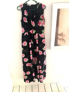 Black w/ Pink and Green Maxi Dress by Moschino Floral Maxi