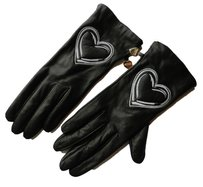 Moschino Moschino Black Soft Leather Gloves White Heart Symbol