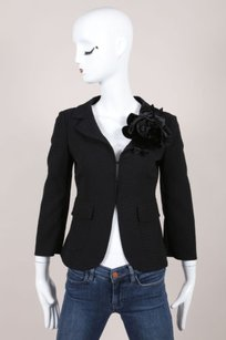 Moschino Moschino Black Woven Velvet Flower Applique Stitch Trim Blazer