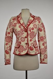 Moschino Moschino Cheap And Chic Womens Red Blazer Floral Cotton Career Jacket