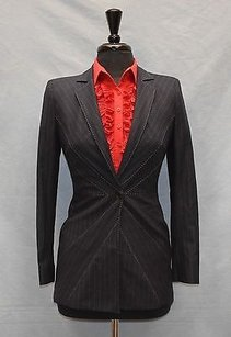 Moschino Moschino Cheap Chic Navy Pinstriped Spider Web Long Blazer Jacket
