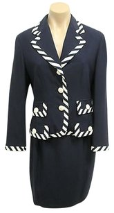 Moschino Moschino Couture Vintage Navy Blue Skirt Suit W Striped Lapels Front Pockets