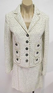 Moschino Moschino Ivory Black Cotton Tweed Skirt Suit W Pocket Detailing Buttons -
