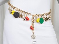 Moschino Moschino Jeans Womens Iconic Gold Goldtone Chain Charm Belt One Os