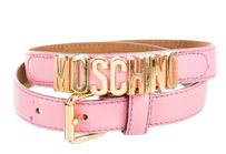 Moschino Pink leather Moschino gold tone letter charms belt XXS