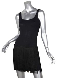 Moschino short dress Black Womens Sleeveless Scoop Neck Fringe Shift Sheath 38us on Tradesy