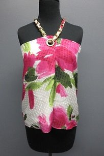Moschino Cheap And Chic Floral Gold Chain Neck Strap Sm8858 Top Pink
