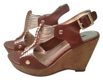 Mossimo Supply Co. Wedge Strappy TAN COGNAC GOLD Platforms