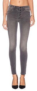 Mother Denim The Pixie Deep Voodoo Button Front Grey Wash Skinny Slim 26s Skinny Jeans