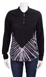 Mother White Tie Dye Print Henley Top Black