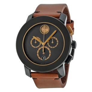Movado Chronograph Black Dial Cognac Leather Men's Watch MV3600348