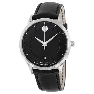 Movado Movado 1881 Automatic Black Dial Black Leather Mens Watch