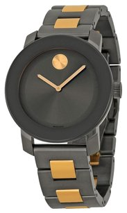 Movado MOVADO Bold Grey Sunray Dial Ionic Rose Gold and Grey Plated Stainless Steel Ladies Quartz Watch MV3600327
