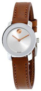 Movado MOVADO Bold Silver Dial Brown Leather Ladies Watch MV3600328