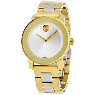 Movado Movado Bold Silver Dial Gold Ip Stainless Steel Ladies Watch