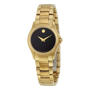 Movado Movado Masino Black Dial Yellow Gold Pvd Stainless Steel Ladies Watch