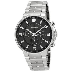 Movado Movado Se Pilot Black Dial Stainless Steel Chronograph Mens Watch
