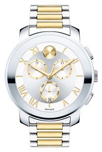 Movado Movado Unisex Swiss Chronograph Bold Two-Tone Stainless Steel Bracelet Watch 40mm