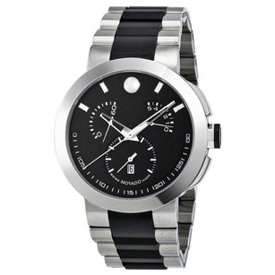 Movado Movado Verto Black Dial Two Tone Stainless Steel Mens Watch
