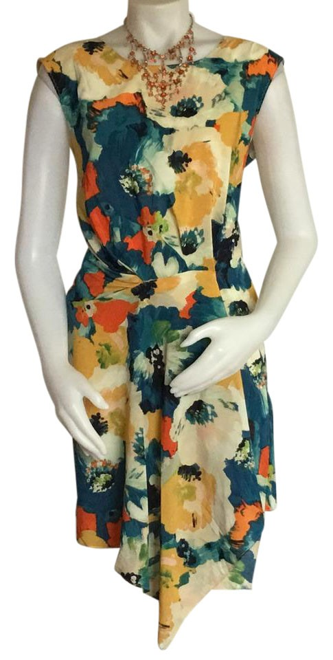 Multi-color Watercolor Faux Wrap Dress