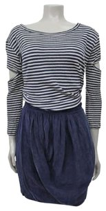 Myne White Striped Top Navy Draped Blouson Arms Dress