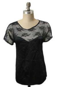 Myne Lace Sheer Top Black