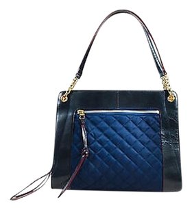 MZ Wallace Navy Leather Tote in Blue