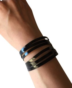 Nakamol Adjustable Leather Strips Cuff - Glazed Midnight