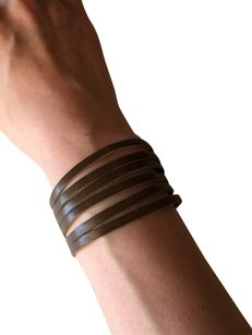 Nakamol Adjustable Leather Strips Cuff - Olive