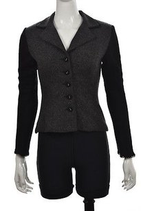 Nanette Lepore Womens Black Speckled Basic Wool Long Sleeve Coat Multi-Color Jacket