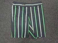 Nanette Lepore Blue Green Striped Blend Sma4241 Bermuda Shorts Green Blue