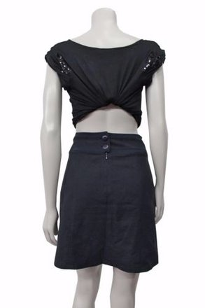 56a7055abf496a Nanette Lepore Navy Wool Pleated Skirt 0 Style Ca00985 well-wreapped ...
