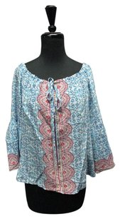 Nanette Lepore Blue Pattern Tie Neck Line Long Sleeves 2289 A Top Blue/Pink