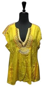 Nanette Lepore Silk Beaded V Neck Sleeveless Casual 5318 A Top Yellow