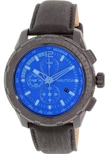 Nautica Nautica Men's NAD21504G NST 101 Black Stainless Steel Watch with Leather Band
