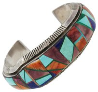 Navajo Alvin Navajo Alvin Yellow Horse Sterling Silver Turquoise Inlay Cuff Bracelet