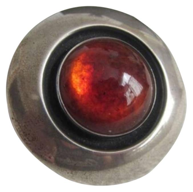 """Neil Eriks Sterling silver Brooch with a luxurious Amber Stone.  NE FROM 1 1/2"""" Brooch from Denmark"""