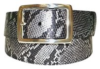 Neiman Marcus Neiman Marcus Blacksilver Metallic Snake Print Leather Belt 170650pk