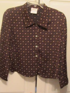 Neiman Marcus Top black with brown print