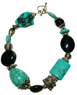 Nerw New Handmade Turquoise And Agate Gemstone Bracelet Black Silver J648